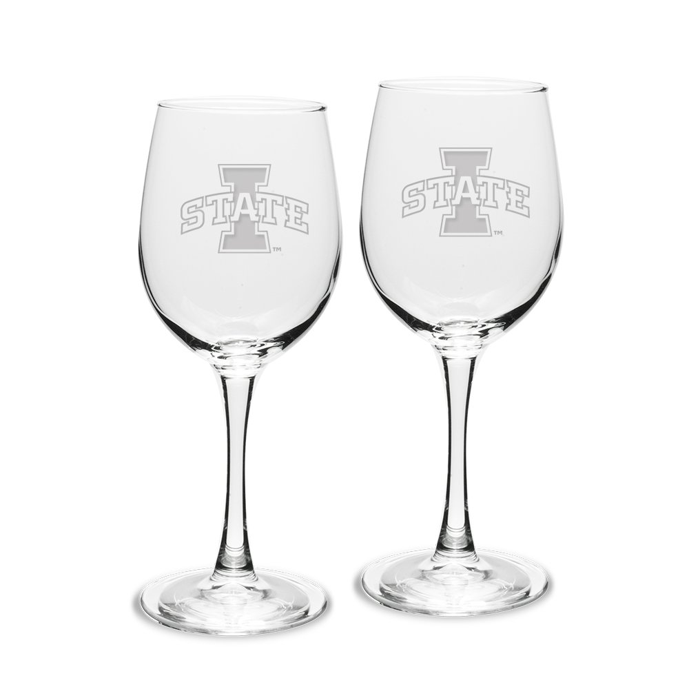 NCAA Iowa State Cyclones Adult Set of 2-12 oz White Wine Glasses Deep Etch Engraved, One Size, Clear