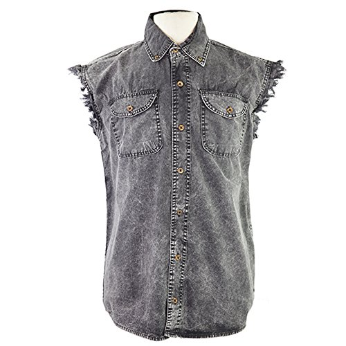 mens-sleeveless-denim-cotton-twill-biker-shirt-charcoal-black-xl