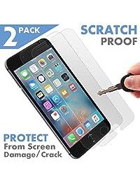 2 protectores de pantalla de cristal templado para Apple iPhone 7 [premium]   blindado, protege y protege de golpes y arañazos   antimanchas, resistente a huellas dactilares y a prueba de roturas   mejor protección de la cubierta delantera.