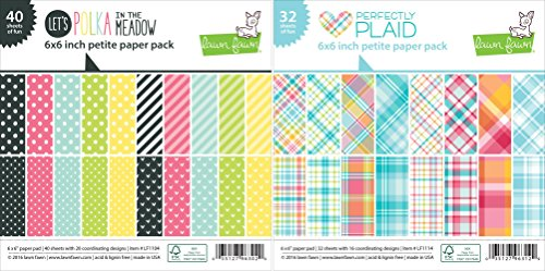 Lawn Fawn Petite Paper Pack 6x6 Inch Bundle - Lets Polka In The Meadow, Perfectly Plaid - Set of 2