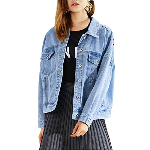 Blue Jacket Broderie Jean Filles Femmes En Manteau Ancien Jeans Veste Vrac Courte Uwxqa4BqgP