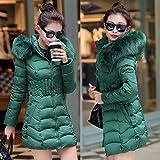 LOCOMO Women Synthetic Puffer Insulated Jacket Coat Faux Fur Hooded FFJ058GRN2XL