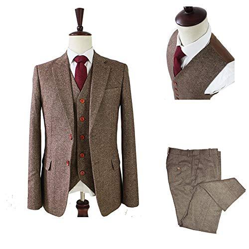 Premium Solid Classic Vintage Tweed Herringbone Wool Blend Tailored Men Suit Blazer Vest Pant Tan ()