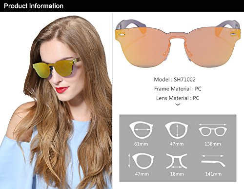 la del de sol de Gafas C1 Sol Marco Sol nbsp;Gafas SHINU Fiesta una de de SH71002 las Clasico Estilo Pieza populares Espejo Redondo Gafas moda de de sol Gafas de de nqXawHwYvx