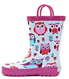 Pink Owls Rubber Rain Boots Size 12