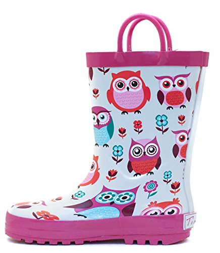 Pink Owls Rubber Rain Boots Size 13 by Timbee (Image #2)