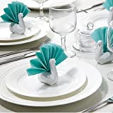 White Ceramic Napkin Holders Napkin Swans By Peleg Design Studio. Set of 6 White Color Napkin Accessories. Cool Housewarming Gift.