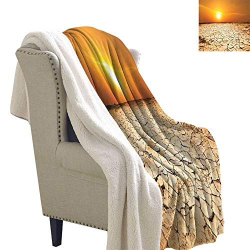 Benmo House Light Thermal Blanket Desert,Drought Land and Hot Weather Climate Theme Sun Arid Country Landscape,Sand Brown Orange Yellow Fluffy Throw Blanket 60x47 Inch ()