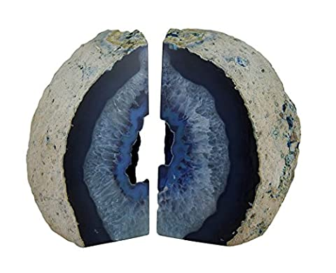 Large Polished Blue Brazilian Agate Geode Bookends 7-11 Pounds