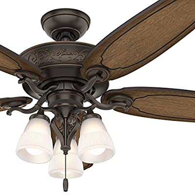 Hunter 54 in. Traditional Ceiling Fan includes LED Light and Thick Carved-Wood Fan Blades (Certified Refurbished)