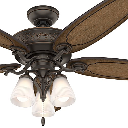Hunter 54 in. Traditional Ceiling Fan includes LED Light and Thick Carved-Wood Fan Blades (Certified Refurbished) - Brown Carved Vines