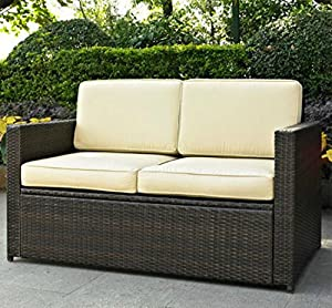 deep seating patio loveseat this contemporary outdoor furniture is made of wicker lounge chair is perfect for your garden deck lawn or backyard great
