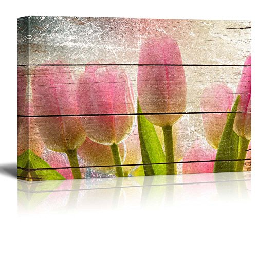 (wall26 Pink and Yellow Tulips - Rustic Floral Arrangements - Pastels Colorful Beautiful - Wood Grain Antique - Canvas Art Home Decor - 16x24 inches)
