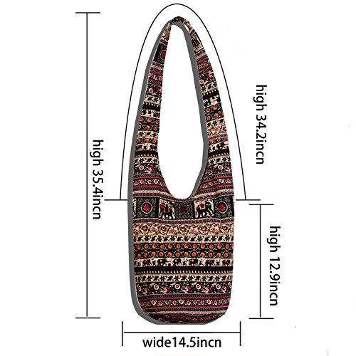 Hippie Crossbody Bag Thai Top Zip Hobo Sling Bag Handmade Hipster Messenger Bag (Elephant) by Chrysansmile (Image #3)