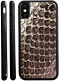 Rikki Knight Photo of Snake Leather Texture Design iPhone X Hybrid TPU Case Cover (Black Rubber with Front Bumper Protection) for iPhone X