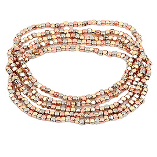 Rosemarie Collections Women's Tri Tone Beaded Stretch Bracelet Set of 5 (Rose Gold/Gold/Silver Tone) (Rose Gold Bead Bracelet)