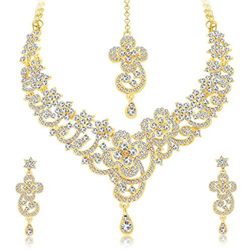 Sukkhi Women's Indian Traditional Bollywood Jewelry Collection Exquitely Gold Plated AD Necklace Set for Women