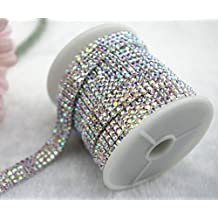 3 FEET 4 Rows SS10 2/5 inches Crystal AB Close Silver Plated Rhinestone Chain Trims Cup Chain Wedding Cake Decoration