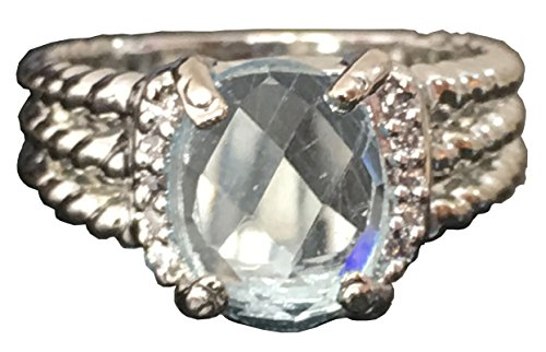 (GEMPARA Designer Inspired Twisted Cable 10x8mm Aquamarine Checkerboard Cushion Ring Size 7 8 9 (7))