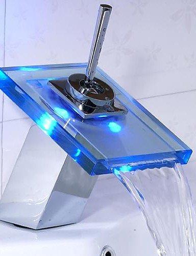 Waschbecken Wasserhahn FarbwechsÖl LED WasserfaÖl Glas Auslauf