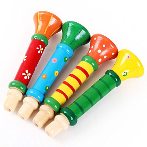 Gotd Multi-Color Baby kids Wooden Horn Hooter Trumpet Instruments Music Toys, 1pc, random color