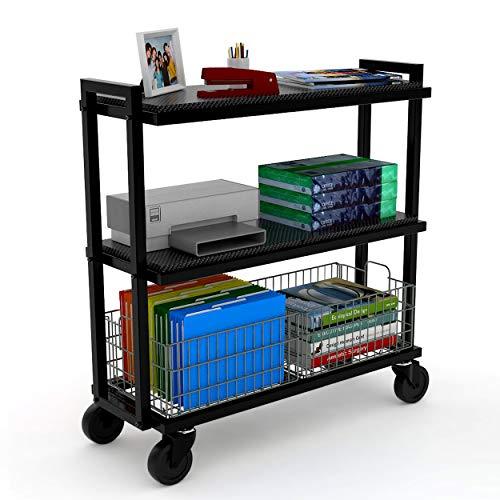 Atlantic Cart System 3 Tier Cart - Wide Mobile Storage, Interchange Shelves and Baskets, Powder-Coated Steel Frame PN23350329 in - Atlantic Liner