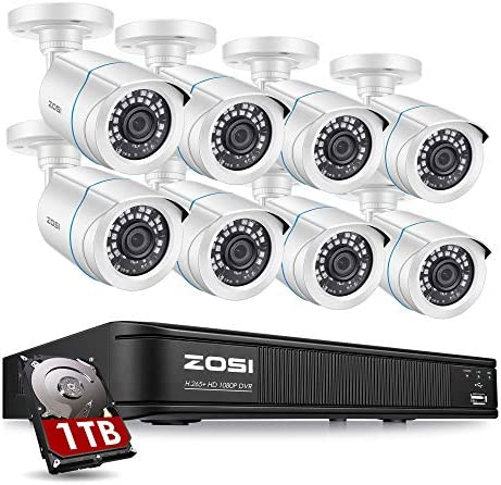 ZOSI 1080P H.265+ Home Security Camera System,5MP Lite 8 Channel CCTV DVR Recorder with Hard Drive 1TB and eight x 1080p Weatherproof Bullet Camera Outdoor Indoor with 80ft Night Vision, Motion Alerts