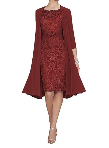 WDH Dress - Vestido - Vaina - manga 3/4 - para mujer Rojo granate