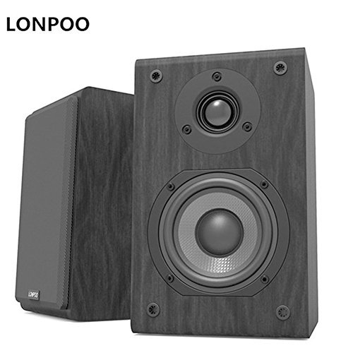LONPOO Bookshelf Speaker Passive Pair 2-Way 75W2 Classic Wooden Loudspeaker with 4-inch Carbon Fiber Woofer Tweeter Speaker