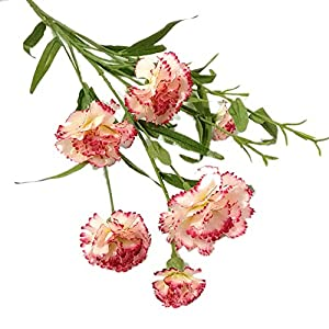 narutosak Artificial Flowers 1Pc Carnation Flower Fake Plant Home Decor Wedding Party Centerpieces - White + Rose Red 78