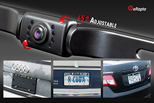 eRapta ERT01 2nd Generation Car Rear View Reversing Backup Camera Automotive with 149°Perfect View Angle 8 LED Lights Night Vision 9 Level Waterproof Universal Car Backing Camera License Plate