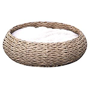 Petpals Hand Made Paper Rope Round Bed for Cat/Dog/Pet Sleep with Pillow, Natural 119