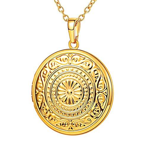 Round Flower Locket - U7 Round Photo Locket Necklace Vintage Design Memorial Gift for Women Grandma 18K Gold Plated Sun Flower Engraved Lockets Pendant