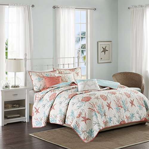 Coastal Living Coral & Teal Seashells, Starfish, Beach House, Cottage Full/Queen Quilt, Shams & Toss Pillows (6 Piece Bed in A ()