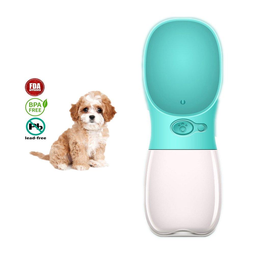 Dr Nezix Portable Dog Cat Pet Water Bottle Antibacterial Food Grade Leak Proof Dispenser Travel Drink Bottle Bowl Cup, Pet Outdoor Drinking Cup | BPA Free- 12OZ, Aqua