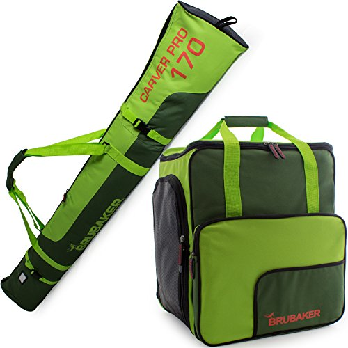 BRUBAKER Superfunction - Limited Edition - Combo Ski Boot Bag and Ski Bag for 1 Pair of Ski, Poles, Boots and Helmet - Dark Green Green