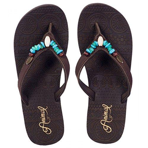 Platino Ayla dunkelbraun Perlen Gladiator Stil Sandale