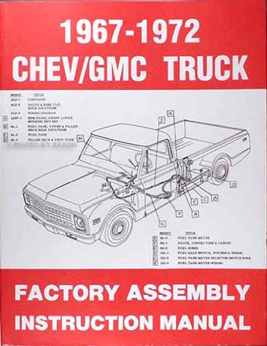 1967 1968 1969 1970 1971 1972 CHEVROLET & GMC TRUCKS & PICKUPS FACTORY ASSEMBLY MANUAL - INCLUDES ALL C and K Series, Pickups, Panel, Suburban, Blazer, GMC Suburban, C10, C20, ()