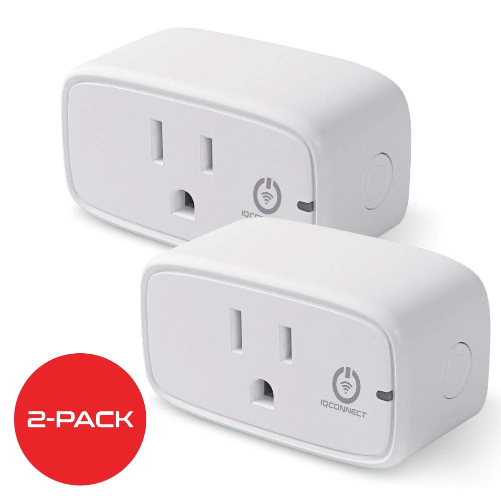 IQConnect Smart Plug, Wi-Fi, No-Hub Required, Compatible with Alexa & Google Home (2-Pack)
