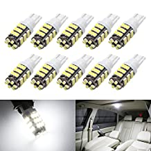 Boodled RV Trailer T10 921 194 1206 Chips 42-SMD 12V Car Backup Reverse LED Interior Dome Map Door Truck Lights Bulbs Xenon White / Warm white 3020 Chipsets (10Pcs Xenon White -Black Board)