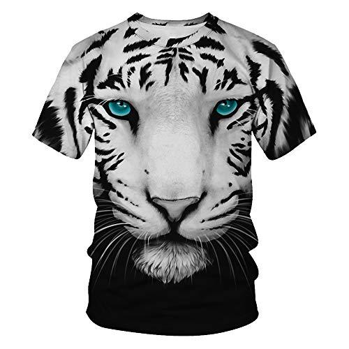 - TAKUSHI HF Unisex 3D Print Creative Animal Short Sleeve T-Shirt Casual Graphic(Blue Eyed Tiger,2XL/3XL)