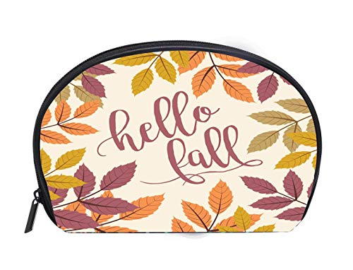 Walnut Autumn (Portable Toiletry Cosmetic Bag Fall Background with Autumn Walnut Leaves hello fall Text Ladies Travel Convenience Small Wash Bag Storage Bag)