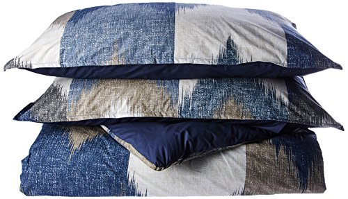 INK+IVY Alpine 3-Piece Cotton All Over Heather Printed Comforter Mini Set-King/Cal King Size-Broken Chevron Pattern in Navy/Taupe/Charcoal on Ivory (Blue 3 Piece Mini Comforter)