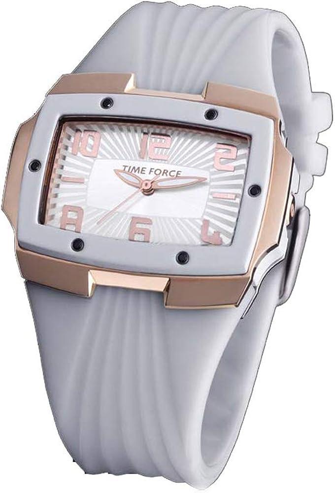 Time Force Reloj Analógico para Mujer de Cuarzo con Correa en Caucho TF3135L11