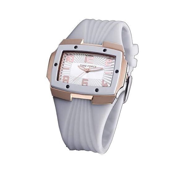 Time Force Reloj Analógico para Mujer de Cuarzo con Correa en Caucho TF3135L11: Amazon.es: Relojes