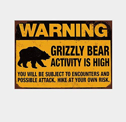 Novelty Funny Sign Warning Grizzly Bear Vintage Metal Tin Sign Wall Sign Plaque Poster Home Bathroom Cafe Bar Pub, Wall Decor Car Vehicle License Plate Souvenir ()