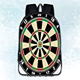 Women Backpack Oxford Cloth Elegant Shoulder Bag,Sports Dart Board Numbers Sports Accuracy Precision Target Leisure Time Graphic Vermilion Green Black 16 inches,Backpacks for Teen Girls