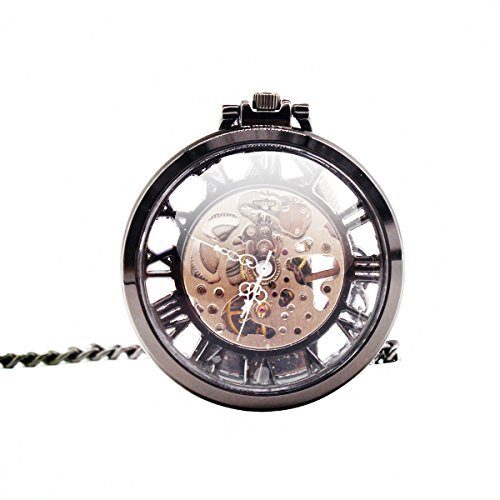 Vintage Mens Open Face Pocket Watch Steampunk Skeleton Mechanical Hand Wind Movement with Chain + Box