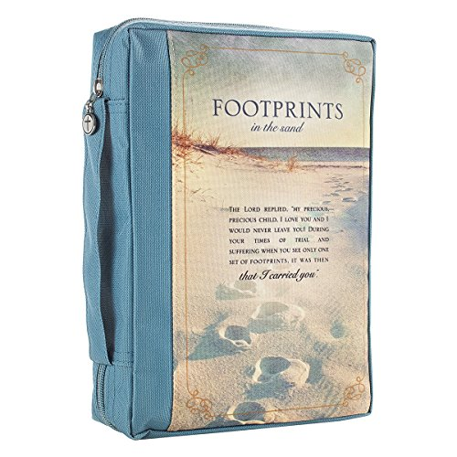 """Footprints"" Poem Printed Blue Poly-Canvas Bible / Book Cover (Medium)"
