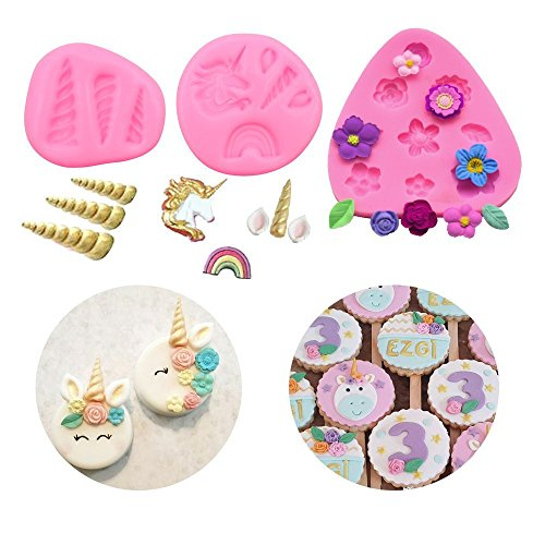 Unicorn Silicone Mold, Mini Horn Ears Flowers Toppers Fondant Cake Pop Cookies Jelly Chocolate Mold Set of 3